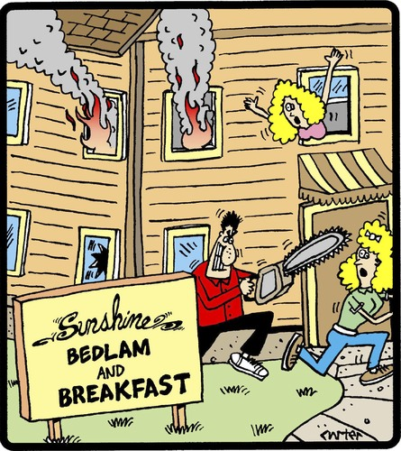Cartoon: Bedlam and Breakfast (medium) by cartertoons tagged breakfast,bed,hospitality,hotels,mayhem,breakfast,bed,hospitality,hotels,mayhem