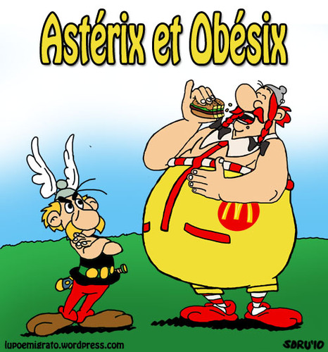 Cartoon: La capitulation (medium) by sdrummelo tagged asterix,obelix,obesite,hamburger,mc,donald,france,francia,publicite