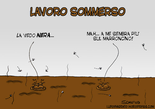 Cartoon: Lavoro Sommerso (medium) by sdrummelo tagged undeclared,workers,italy,construction,site,society,italia,laovor,nero,mondo,sommerso