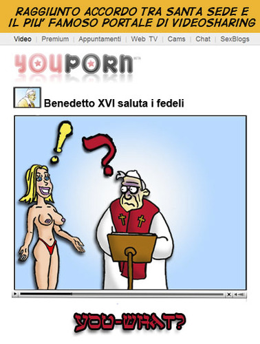 Cartoon: Youpope (medium) by sdrummelo tagged youporn,youtube,pope,papa,benedetto,xvi,joseph,ratzinger
