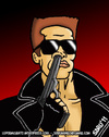 Cartoon: A very busy hero (small) by sdrummelo tagged arnold,schwarzenegger,terminator,parody,movie,actors,celebrities