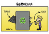Cartoon: ECOnomy (small) by sdrummelo tagged recycling,trash,bin,cash,money,business,education,ecology,environment,economy