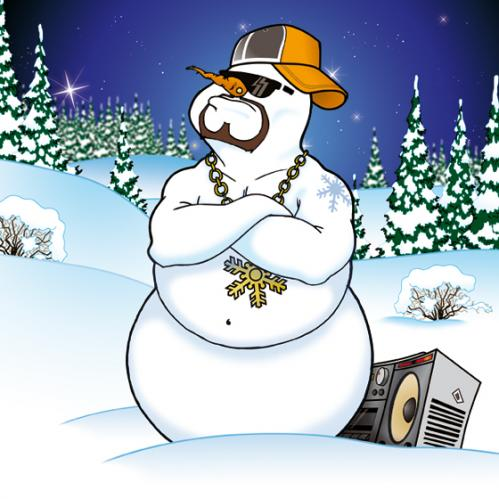 Cartoon: Snowman (medium) by bananajoe tagged schneemann,snowman,winter,weiß,radio,cap,cool,cold,white,gangster,sonnenbrille,comic,mc,