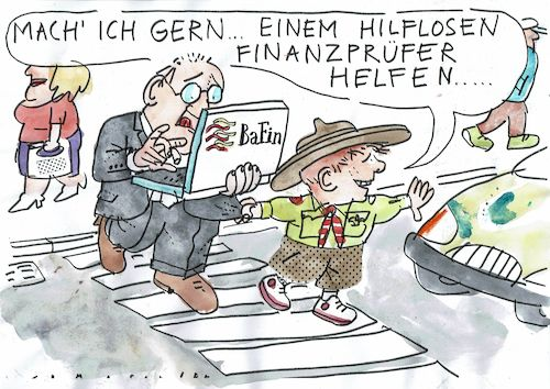 Cartoon: Bafin (medium) by Jan Tomaschoff tagged bafin,wirecard,finanzen,pleite,bafin,wirecard,finanzen,pleite