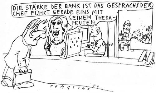 Cartoon: Beraterbank (medium) by Jan Tomaschoff tagged banken,finanzen,therapeut,