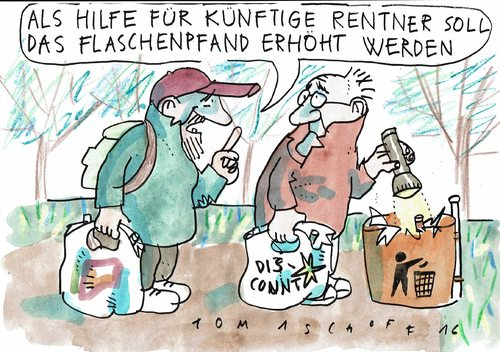 Cartoon: Flaschenpfand (medium) by Jan Tomaschoff tagged altersarmut,renten,altersarmut,renten