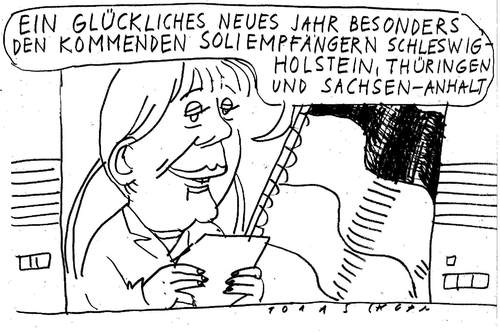 Cartoon: Frohes Neues! (medium) by Jan Tomaschoff tagged länder,kommunen,soli,staatshaushalt