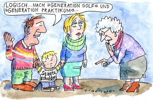 Cartoon: Generation (medium) by Jan Tomaschoff tagged familie,schulden,staat,golf,generation,generation,golf,staat,schulden,familie