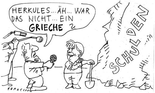 Cartoon: Herkules (medium) by Jan Tomaschoff tagged griechenlandkrise,herkules