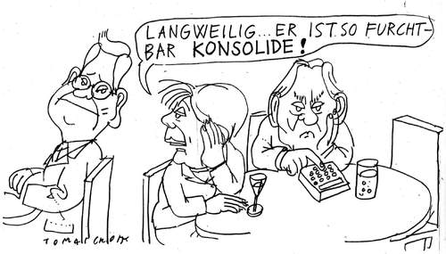 Cartoon: Konsolidierung (medium) by Jan Tomaschoff tagged haushaltskonsolidierung,westerwelle,merkel,schäuble