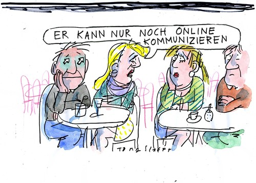 Cartoon: Online (medium) by Jan Tomaschoff tagged liebe,technik,internet,web,kommunikation,online,online,kommunikation,web,internet,technik,liebe
