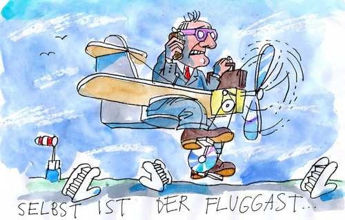Cartoon: Pilotenstreik (medium) by Jan Tomaschoff tagged lufthansa,pilotenstreik
