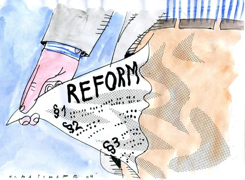 Cartoon: Reformen (medium) by Jan Tomaschoff tagged reformen,reformen