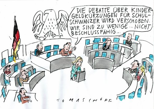 Cartoon: Schwänzen (medium) by Jan Tomaschoff tagged schulpflicht,anwesenheit,bundestag,schulpflicht,anwesenheit,bundestag