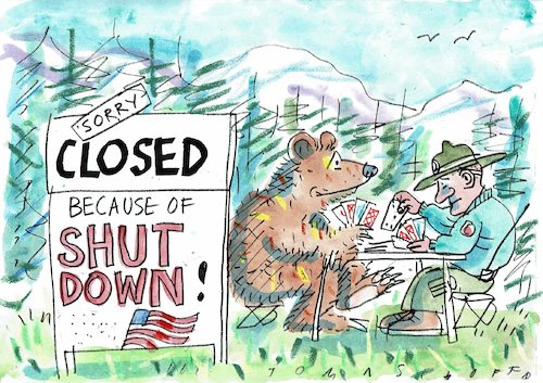 Cartoon: shut down (medium) by Jan Tomaschoff tagged usa,staatsfinanzen,usa,staatsfinanzen