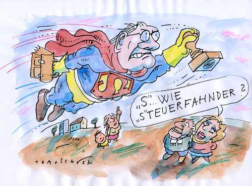 Cartoon: Steuerfahndung (medium) by Jan Tomaschoff tagged steuerflucht,steuerfahndung