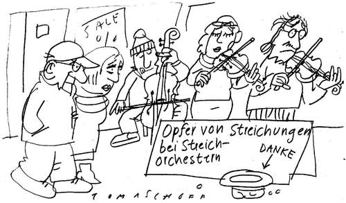 Cartoon: Streichorchester (medium) by Jan Tomaschoff tagged streichungen