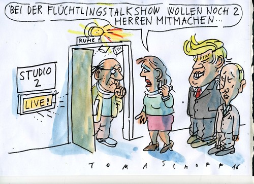 Cartoon: Talk show (medium) by Jan Tomaschoff tagged migration,medien,migration,medien