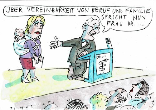 Cartoon: Vereinbarkeit (medium) by Jan Tomaschoff tagged beruf,karriere,familie,kind,beruf,karriere,familie,kind