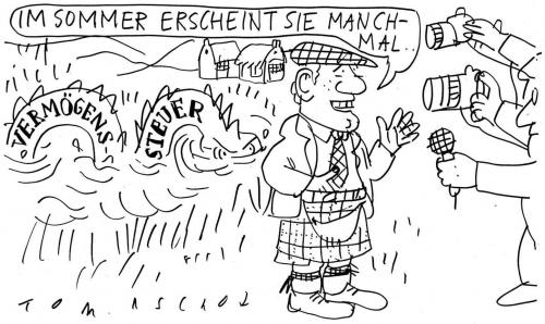 Cartoon: Vermögenssteuer (medium) by Jan Tomaschoff tagged vermögenssteuer,loch,ness