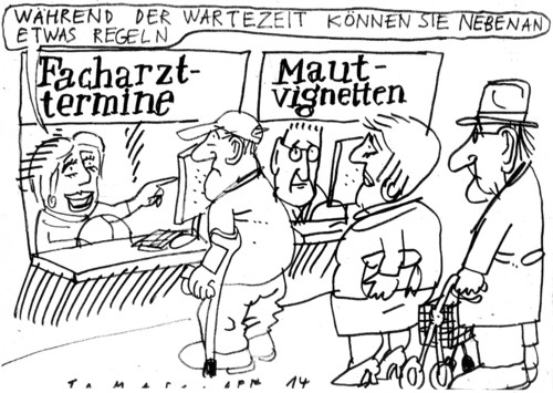 Cartoon: Wartezeit (medium) by Jan Tomaschoff tagged arzttermine,maut,arzttermine,maut