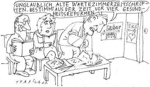 Cartoon: Wartezimmer (medium) by Jan Tomaschoff tagged gesundheitsreform,patienten,krankenkassen