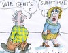 Cartoon: suboptimal (small) by Jan Tomaschoff tagged phrasen,small,talk