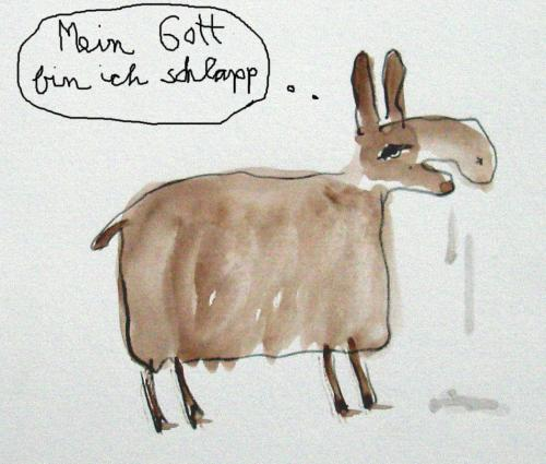Cartoon: Schlappes Lama (medium) by nele andresen tagged spucken