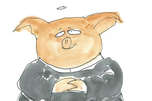 Cartoon: schweinepriester (medium) by nele andresen tagged schwein,