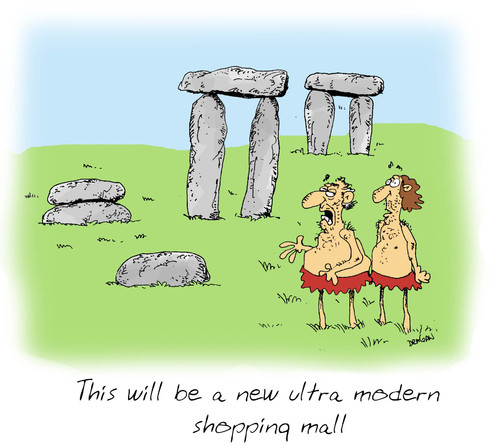 Cartoon: stonehenge (medium) by draganm tagged stonehenge,shopping,mall,stone,age
