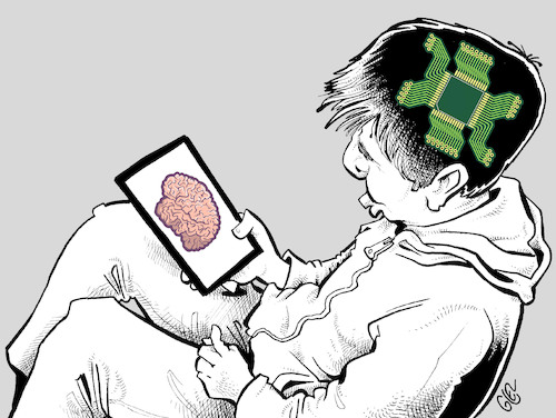 Cartoon: Digital brain (medium) by Damien Glez tagged brain,digital,internet,smartphone,computer,brain,digital,internet,smartphone,computer