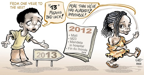 Cartoon: Happy New Year! (medium) by Damien Glez tagged 2012,2013,new,year,africa