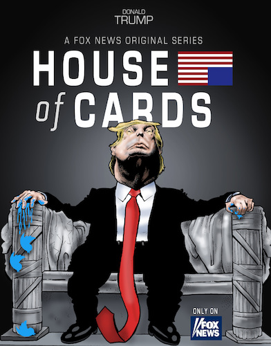 Cartoon: Trumps House of cards (medium) by Damien Glez tagged house,of,cards,united,states,america,donald,trump,american,president,house,of,cards,united,states,america,donald,trump,american,president
