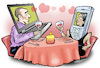 Cartoon: Digital dating (small) by Damien Glez tagged digital,appointment,dating,love,internet,online