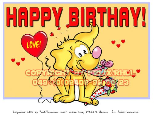 Cartoon: Happy Birthday Cartoon (medium) by FeliXfromAC tagged nice,animals,tiere,tier,logos,sympathiefiguren,mascots,wallpapers,characters,characterdesign,figuren,hey,melde,dich,whimsical,felix,alias,design,line,red,love,herzen,beziehung,aachen,sorry,greeting,card,lighter