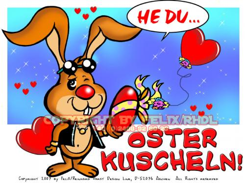 Cartoon: Happy Easter-Frohe Ostern 02 (medium) by FeliXfromAC tagged nice,animals,tiere,tier,stockart,logos,sympathiefiguren,mascots,wallpapers,characters,characterdesign,figuren,hey,melde,dich,whimsical,felix,alias,design,line,red,love,herzen,beziehung,aachen,hase,rabbit,hare,ostern,eastern,g