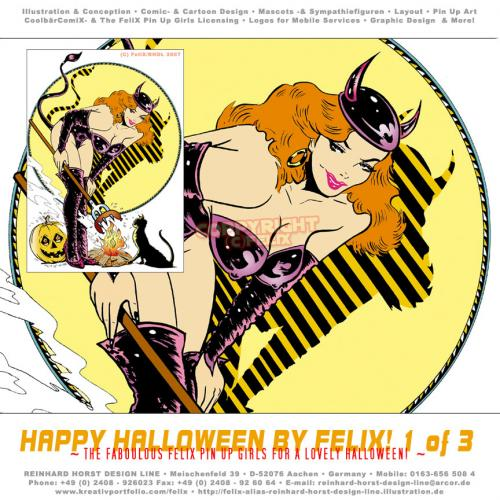 Cartoon: Happy Halloween 01 (medium) by FeliXfromAC tagged halloween,frau,woman,stockart,pin,up,girls,poster,tshirt,girl,sexy,collection,1942,hexe,witch,witchcraft,alias,reinhard,horst,