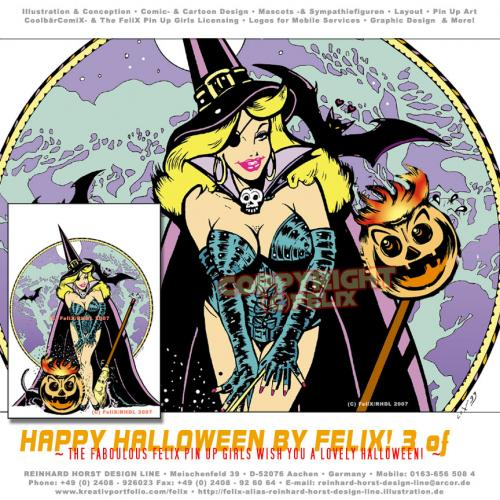 Cartoon: Happy Halloween 02 (medium) by FeliXfromAC tagged halloween,frau,stockart,woman,pin,up,girls,poster,tshirt,girl,sexy,hexe,witch,witchcraft,alias,reinhard,horst,pumpkin,retro,kürbis,