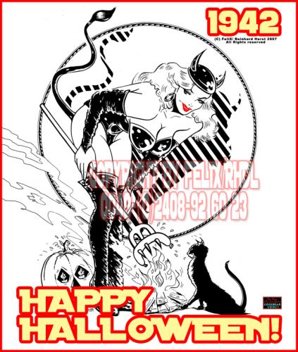 Cartoon: Layout 1942 - Happy Halloween (medium) by FeliXfromAC tagged reinhard,horst,design,line,leder,horror,halloween,cat,katze,sexy,giel,woman,frau,leather,pin,up,retro,poster,stockart,comic,illustration