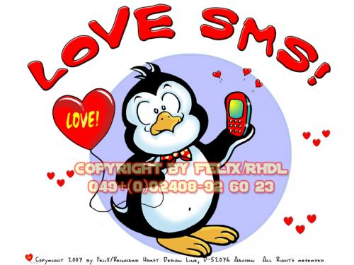 Cartoon: Perdita Pingo-Love SMS (medium) by FeliXfromAC tagged nice,animals,tiere,tier,logos,sympathiefiguren,mascots,wallpapers,characters,characterdesign,figuren,hey,melde,dich,whimsical,felix,alias,reinhard,horst,design,line,red,love,herzen,beziehung,aachen,pinguin,penguine,greeting,card,birthday