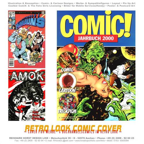 Cartoon: Retro Comic Covers (medium) by FeliXfromAC tagged retro,design,woman,frau,comic,cover,poster,monster,girl,cartoon,amok,action,fantasy,young,guns,marvel,look,70s,50s,stockart,