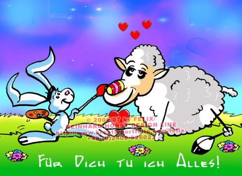 Cartoon: Sheep in Love (medium) by FeliXfromAC tagged schaf,sheep,easter,egg,hase,felix,alias,reinhard,horst,comic,cartoon,love,liebe,design,line,aachen,hare,rabbit,tier,tiere,animal,animals,festtage,malen,illustration,grüße,greeting,card,stockart,