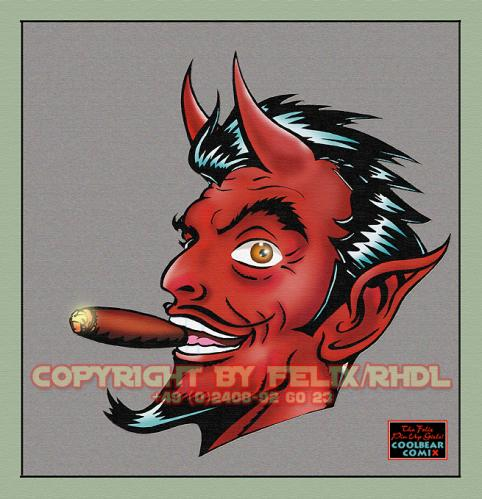 Cartoon: Smoking Devil (medium) by FeliXfromAC tagged devil,teufel,smoke,stockart,rauch,dunst,mann,man,zigarre,cigar,felix,alias,red,rot,design,line,aachen,comix,comic,cartoon,