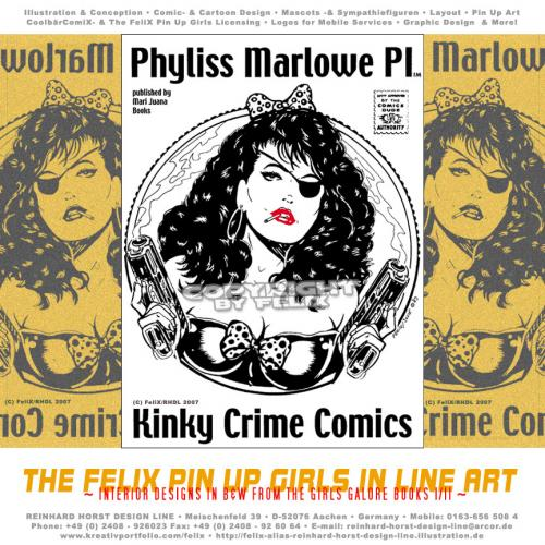 Cartoon: The FeliX Pin Up Girls (medium) by FeliXfromAC tagged girls,galore,character,frau,cover,woman,pin,up,sexy,erotic,pirate,pirat,dog,felix,alias,reinhard,horst,design,line,phyliss,marlowe,kinky,crime,comix,comic,comics,retro,stockart,