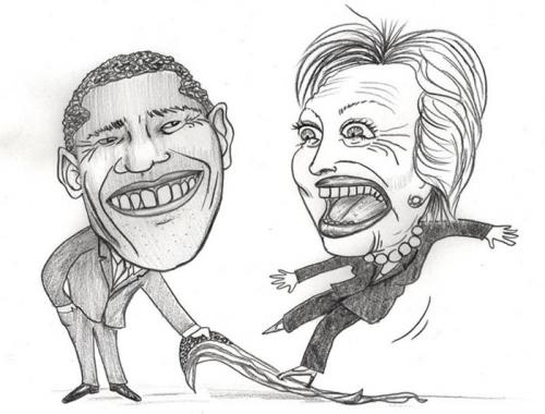 Cartoon: clinton and obama (medium) by illustrita tagged cartoon,caricature,election,usa,amerika,obama,clinton,frau,mann,beziehung,black,white,man,woman,triumph,change