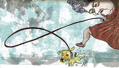 Cartoon: er 3 (medium) by illustrita tagged woman,dog,frau,hund,animals,tiere