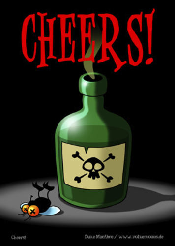 Cartoon: Cheers! (medium) by volkertoons tagged volkertoons,cartoon,comic,karte,grußkarte,postkarte,gereeting,card,fliege,flie,gift,poison,prost,cheers,lustig,humor,spaß,fun,funny