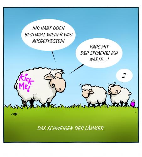 Cartoon: Das Schweigen der Lämmer (medium) by volkertoons tagged cartoon,volkertoons,humor,movie,film,kino,hannibal,krimi,thriller,schafe,das,schweigen,der,lämmer,silence,of,the,lambs,natur,nature,tiere,animals,graffiti,sprayer,lümmel