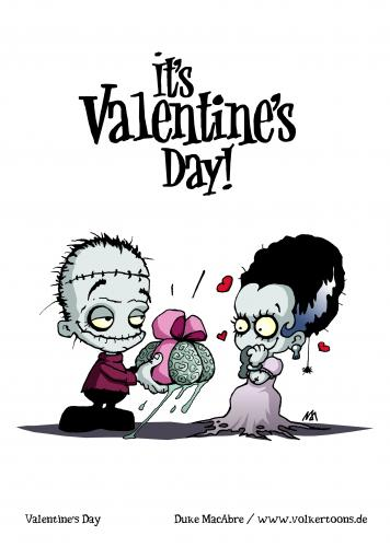 Cartoon: Its Valentines Day! (medium) by volkertoons tagged creeps,creepy,halloween,fantasy,horror,cute,monsters,creatures,fun,cards,greeting,frankenstein,valentine,valentinstag,humor,volkertoons,cartoon