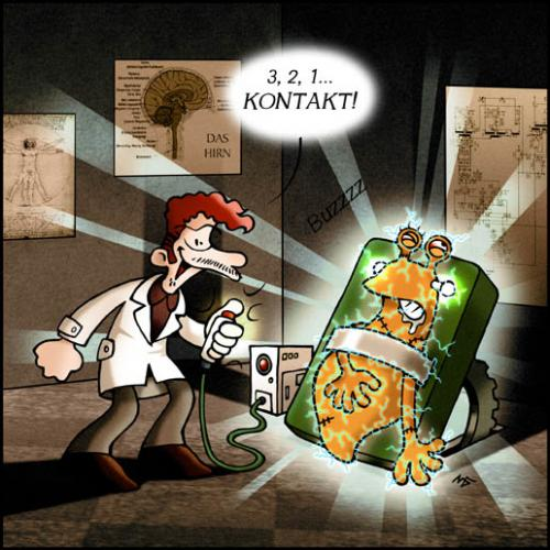 Cartoon: Kontakt (medium) by volkertoons tagged cartoon,volkertoons,illustration,comic,humor,horror,fantasy,slug,snail,schnecke,frankenstein,mutant,adventure,abenteuer,kreatur,creature,monster,creepy,creeps